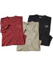Set van 3 'Evasion' T-shirts met ronde hals