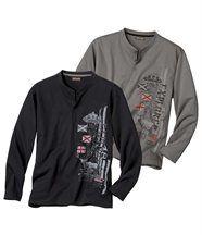 Set van 2 T-shirtsComfortabele uitlopende hals