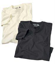 Set van 2 T-shirts met knopen bij de hals