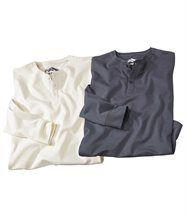 Set van 2 T-shirtsmet knopen bij de hals