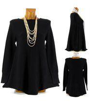 Pull tunique laine trapèze ample 36/48 noir MAXIME