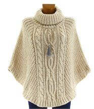 Poncho laine grosse maille laine mohair beige elod