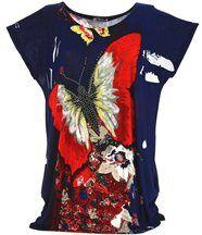 Tee shirt  drapée thania papillon bleu marine