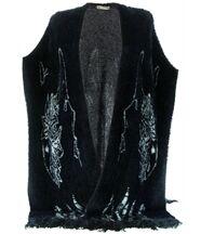 Gilet long poncho laine poils noir COCTEAU