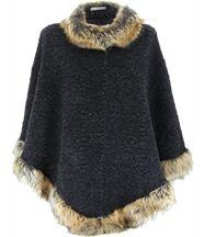 Cape manteau laine imitation fourrure ROSETTA gris