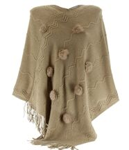 Poncho long pompons hiver ADELINE taupe