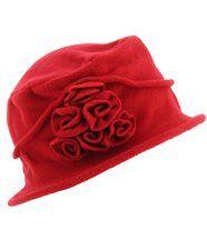 chapeau cloche polaire hiver CASTOR rouge