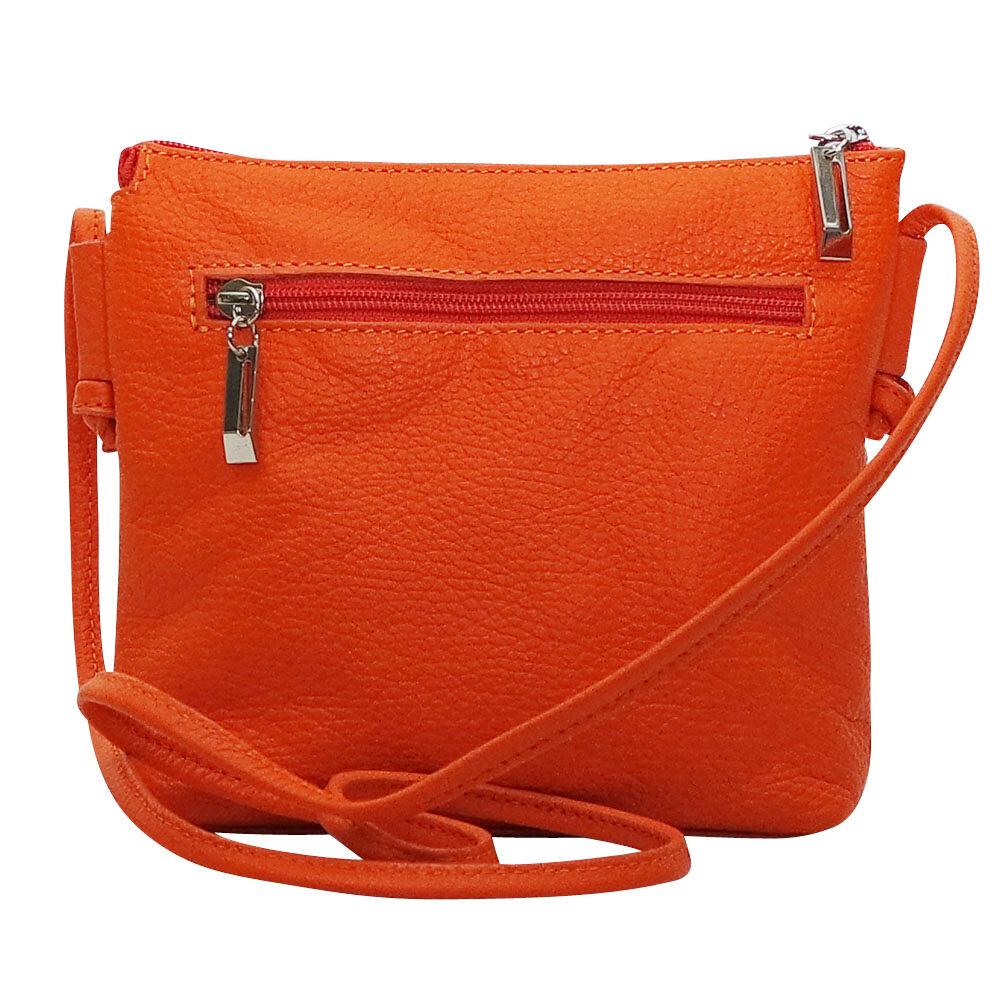 Petit sac bandoulière cuir orange