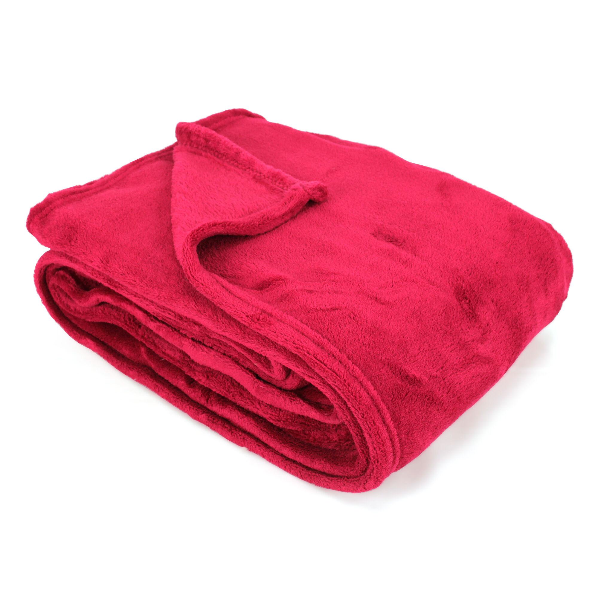 couverture polaire 220x240 cm microfibre 280 g m2 apollo rouge framboise linnea. Black Bedroom Furniture Sets. Home Design Ideas