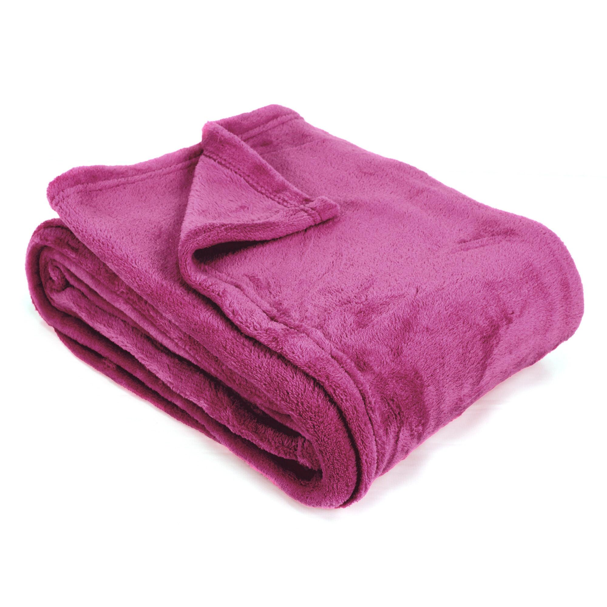 couverture polaire 220x240 cm microfibre 280 g m2 apollo violet prune linnea. Black Bedroom Furniture Sets. Home Design Ideas