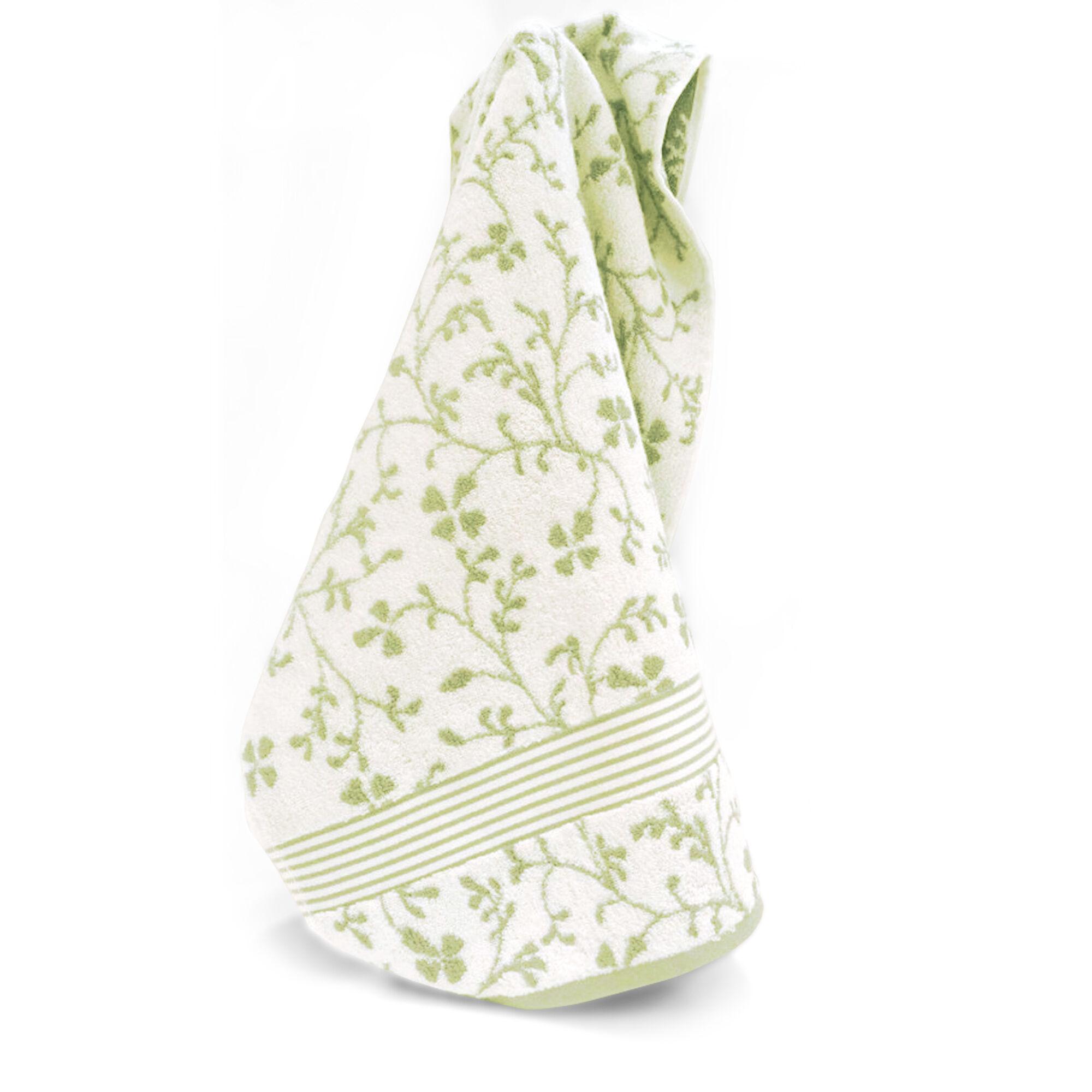 serviette de toilette 40x60 cm vintage floral vert 550 g m2 linnea. Black Bedroom Furniture Sets. Home Design Ideas