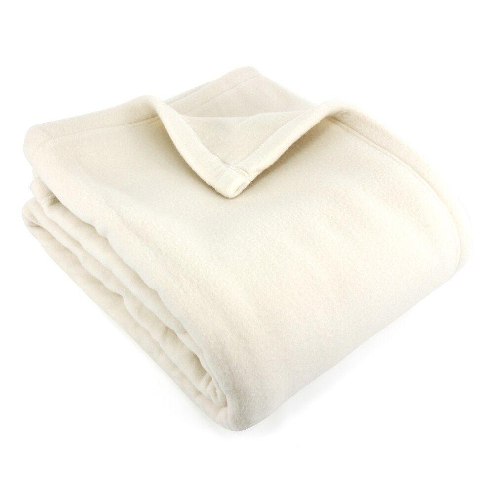couverture polaire 220x240 cm 100 polyester 350 g m2 teddy blanc naturel linnea. Black Bedroom Furniture Sets. Home Design Ideas