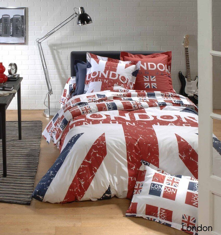 housse de couette 200x200 cm 100 coton london union jack linnea. Black Bedroom Furniture Sets. Home Design Ideas