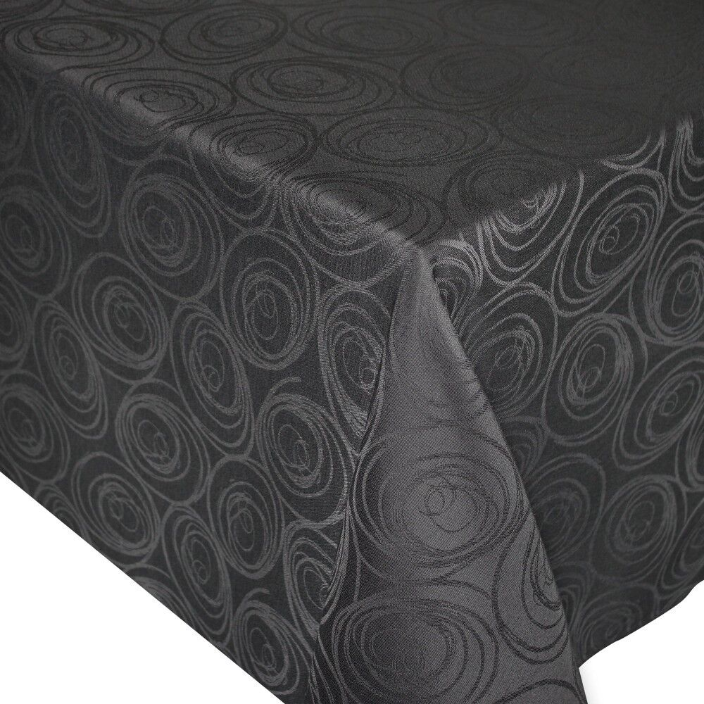 nappe carr e 150x150 cm jacquard 100 coton spirale anthracite linnea. Black Bedroom Furniture Sets. Home Design Ideas