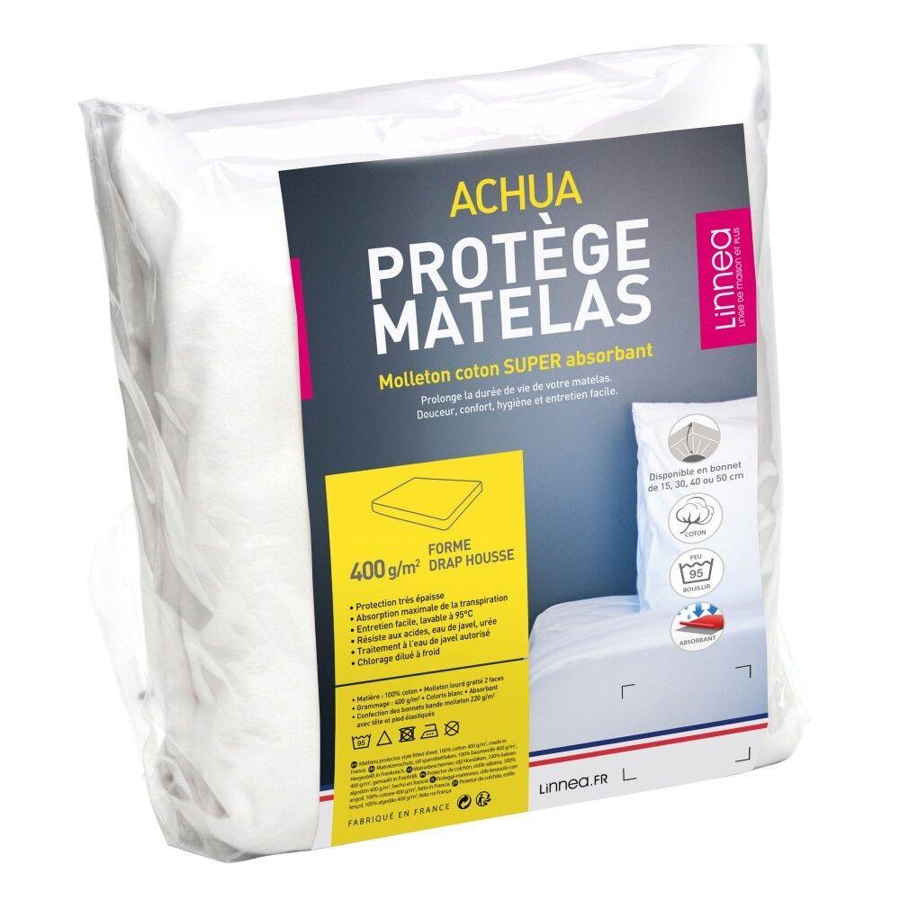 prot ge matelas 70x200 cm achua molleton 100 coton 400 g m2 bonnet 30cm linnea. Black Bedroom Furniture Sets. Home Design Ideas