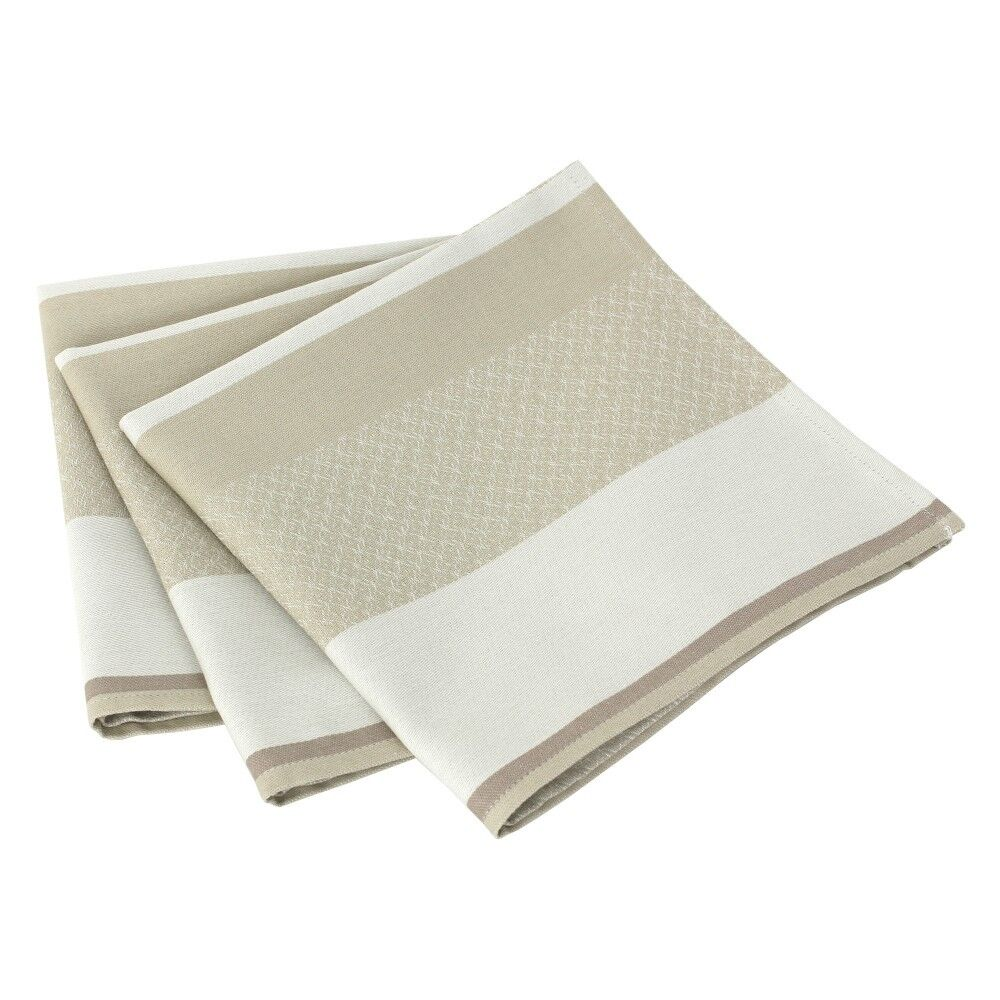 Lot De 3 Serviettes De Table 45X45 Cm Jacquard 100% Coton ...