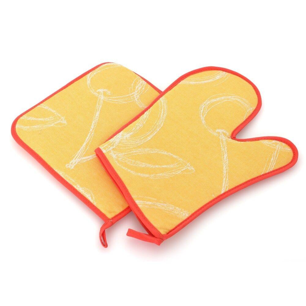 set de cuisine 2 pi ces gant de cuisine et manique line orange linnea. Black Bedroom Furniture Sets. Home Design Ideas