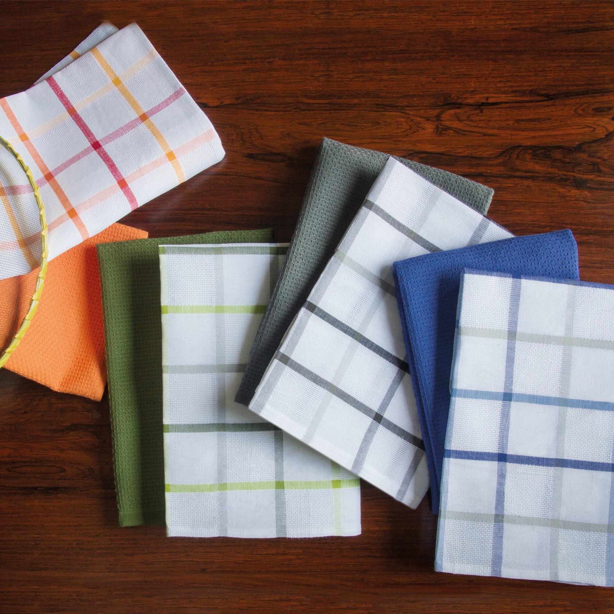 Comment Fabriquer Un Accroche Torchon lot de 2 torchons de cuisine toile 50x70 cm squares lin bleu coton et lin