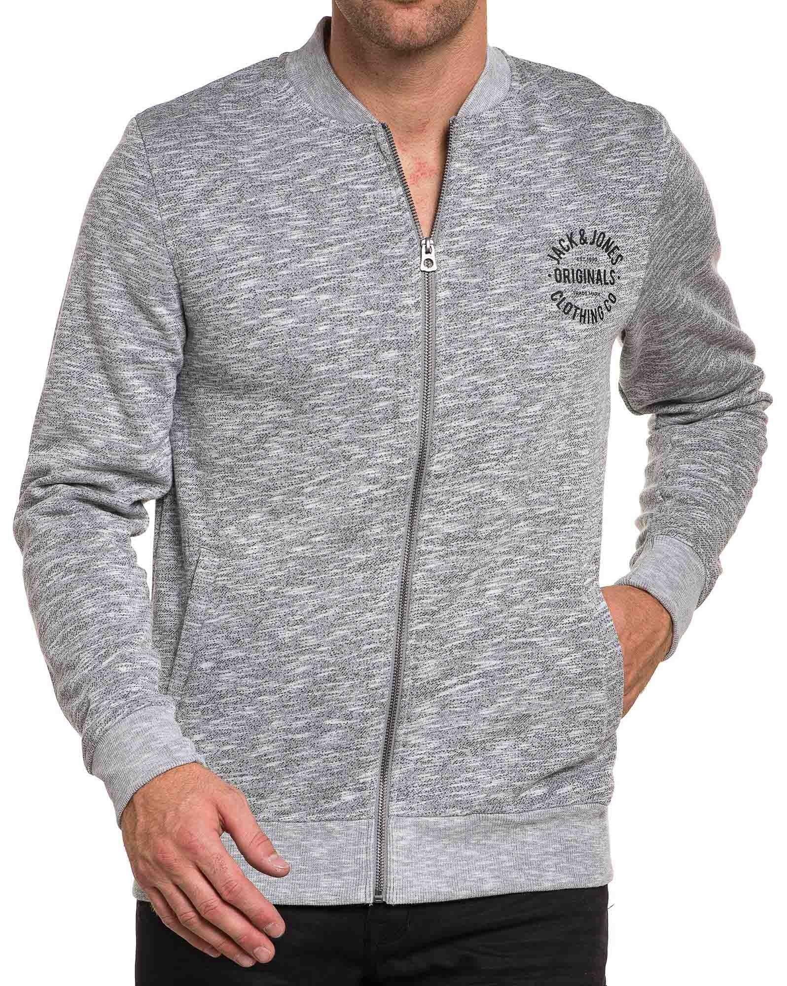 Bomber sweat zippé gris clair homme