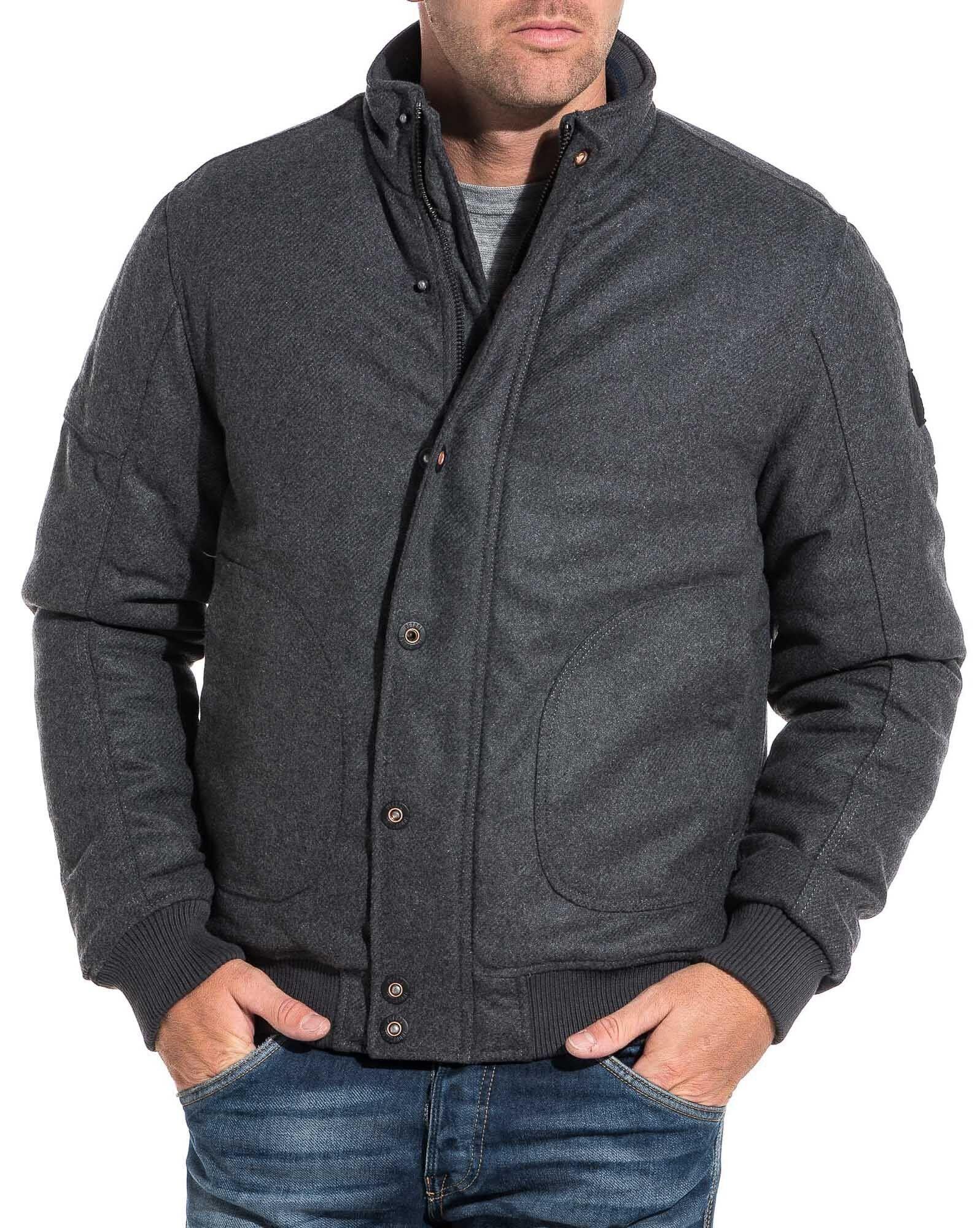 Blouson zippé homme gris laine