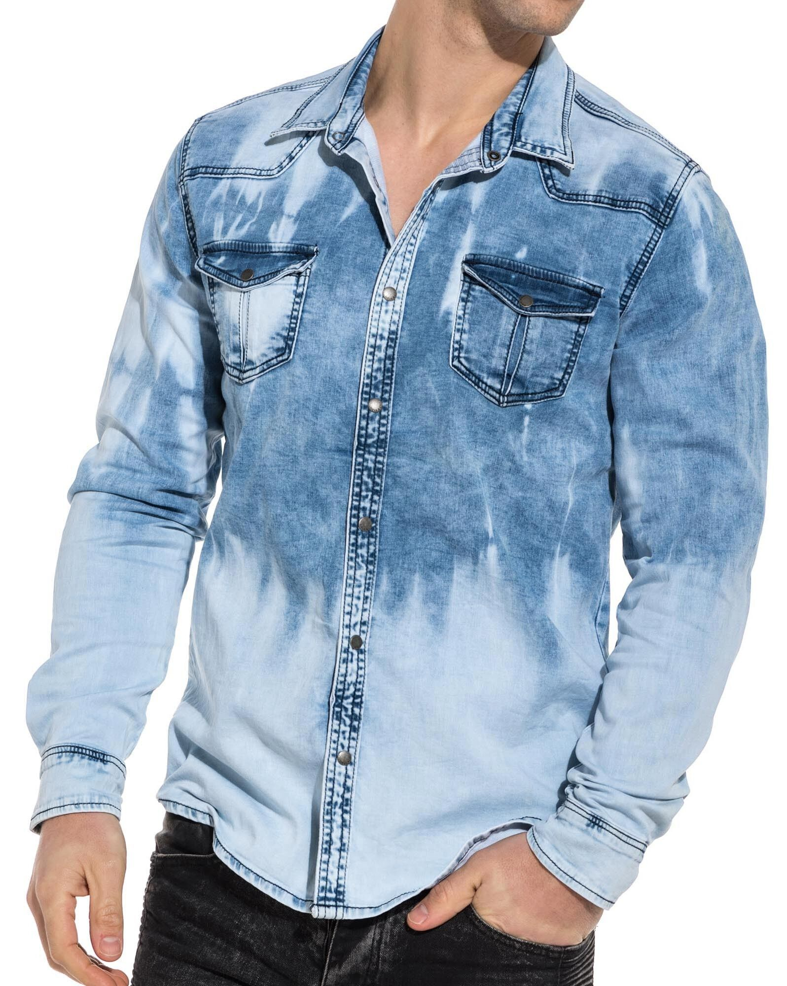Chemise en jean bleu délavé tendance