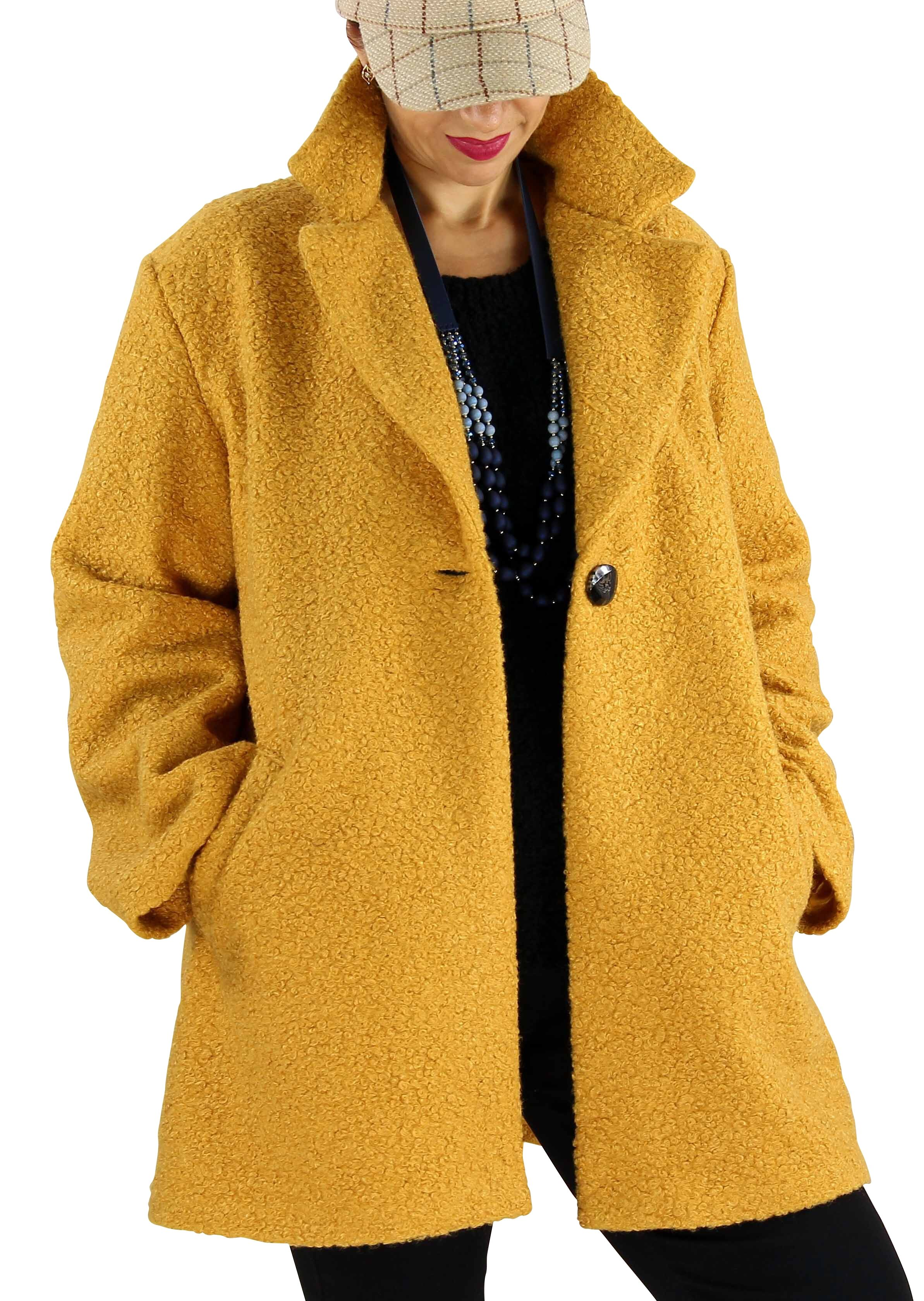 Manteau femme bouclette SAPHIR safran