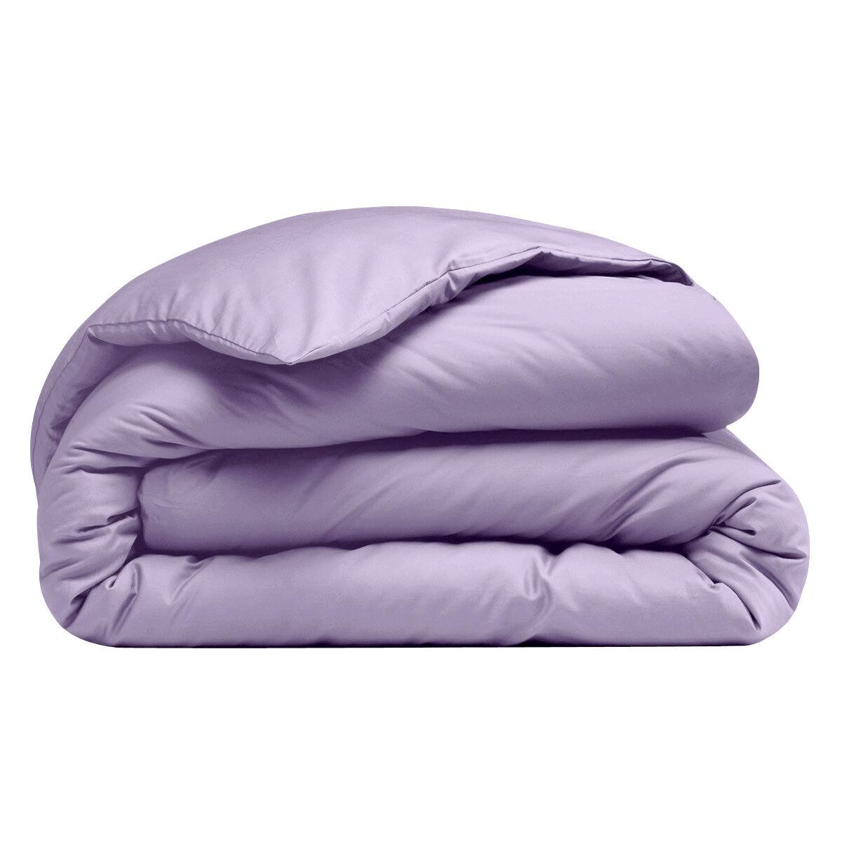 Housse de couette 100 coton violet uni 57 fils cm i for Teo jasmin housse de couette