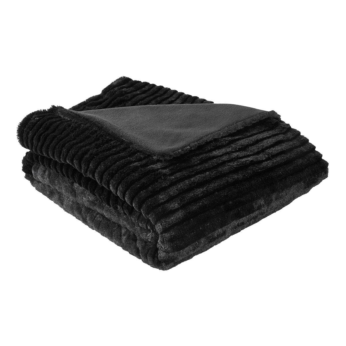 plaid fausse fourrure noir loup i fil home. Black Bedroom Furniture Sets. Home Design Ideas