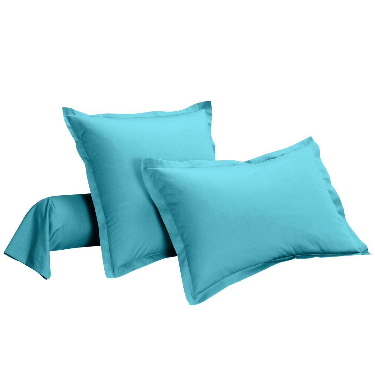 taie d 39 oreiller percale de coton bleu uni 80 fils cm i fil home. Black Bedroom Furniture Sets. Home Design Ideas