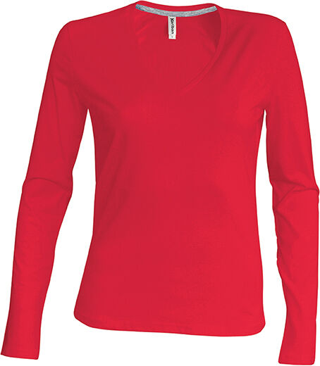 T-shirt col V manches longues Red