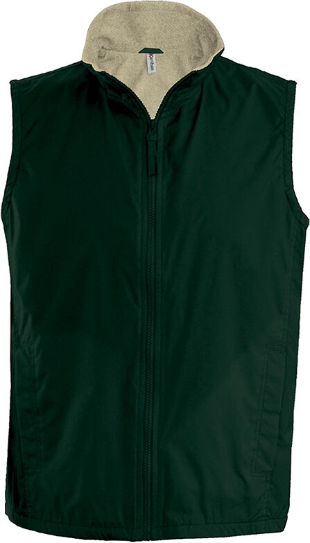RECORD > BODYWARMER DOUBLÉ POLAIRE Forest Green / Beige