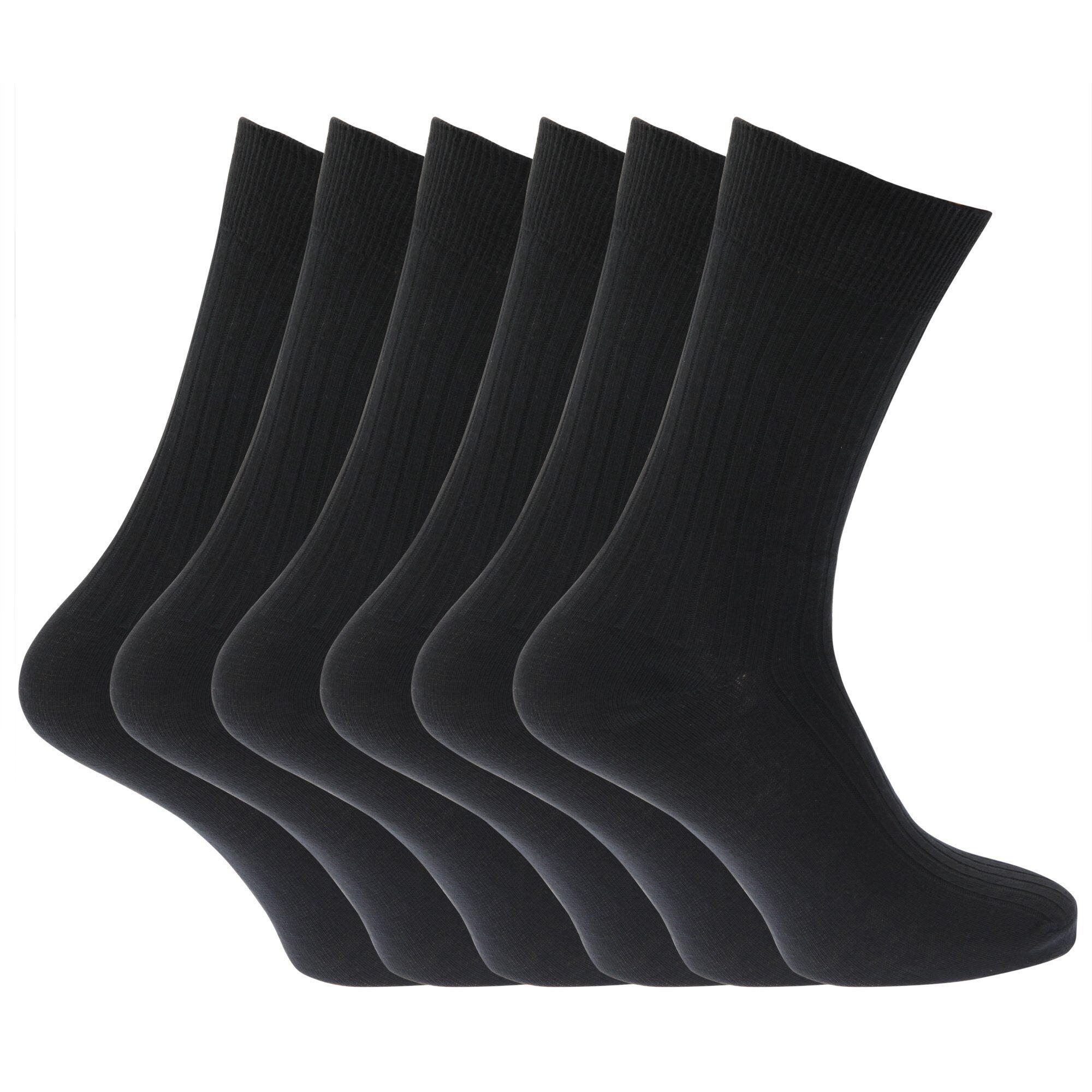 Chaussettes Unies Striées 100% Coton (Lot De 6 Paires) - Homme (Noir) - UTMB144