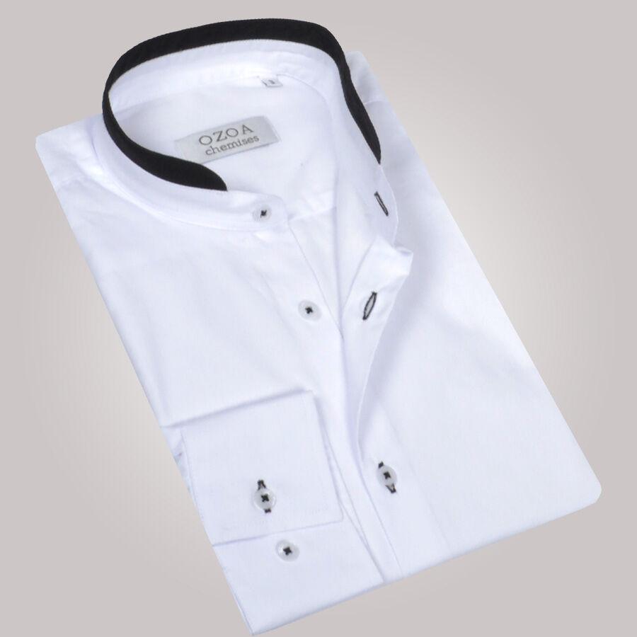 chemise homme blanche avec col mao noir chemise non. Black Bedroom Furniture Sets. Home Design Ideas