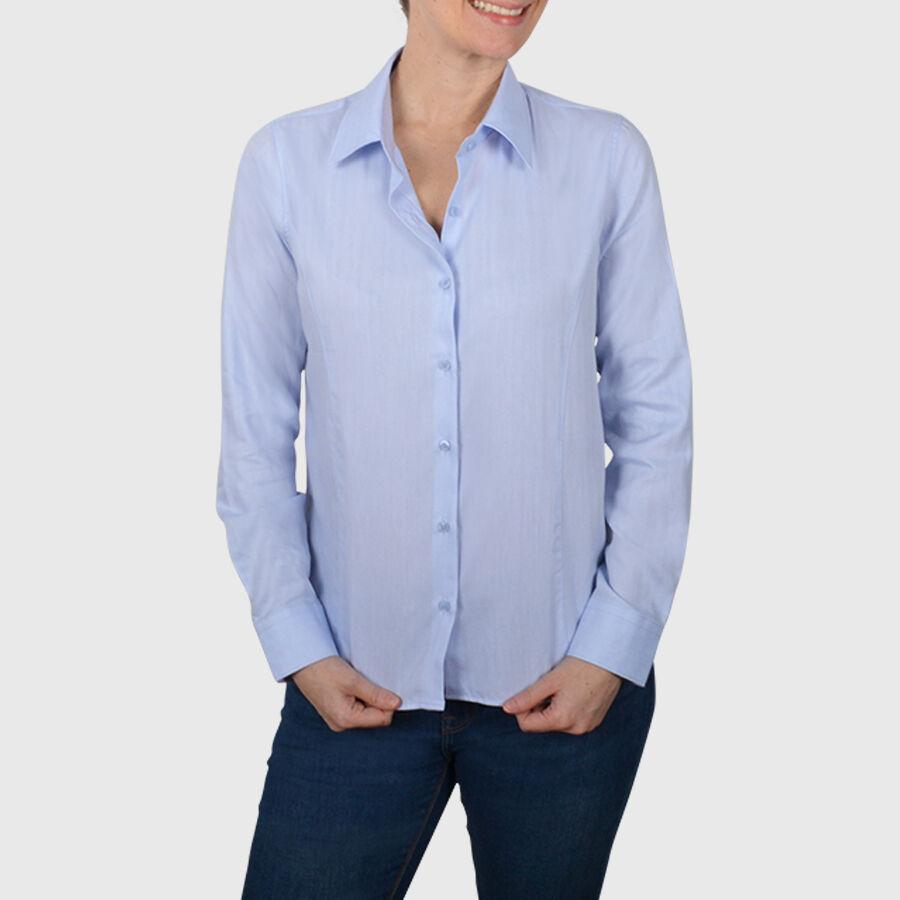 Chemisier Femme Bleu Ciel À Chevrons - Chemisier Cintré   Ozoa f0081420a6a5