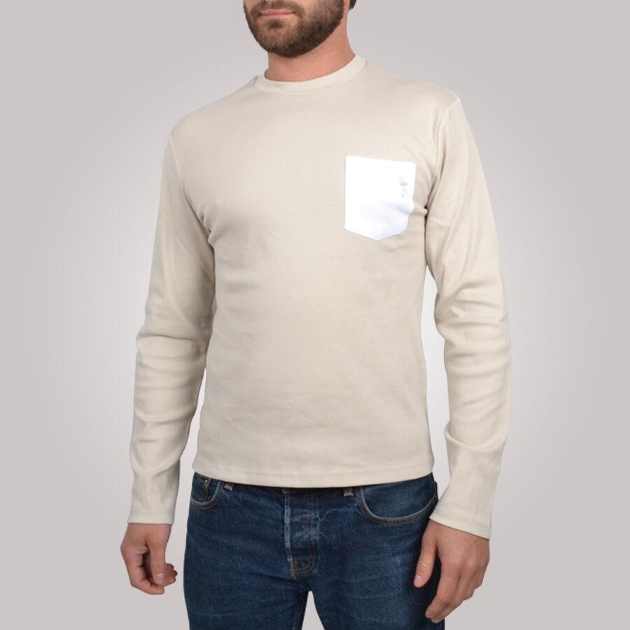 T-shirt homme Original Pocket beige et blanc - Tee shirt manches longues