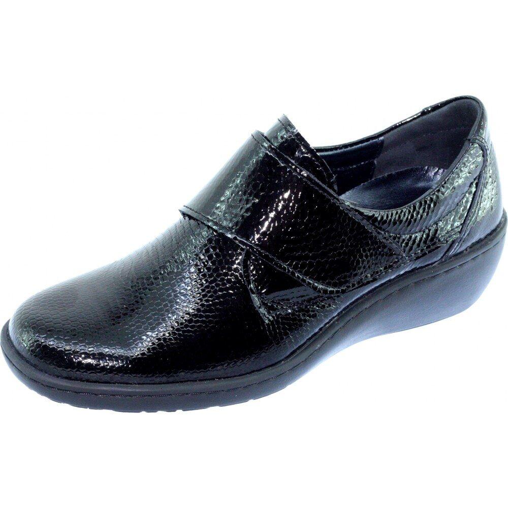 OLEAN Derby Velcro Compensé Souple Chaussures Grande Largeur Femme Confort Pieds Sensibles Marque Aérobics Cuir Vernis Noir