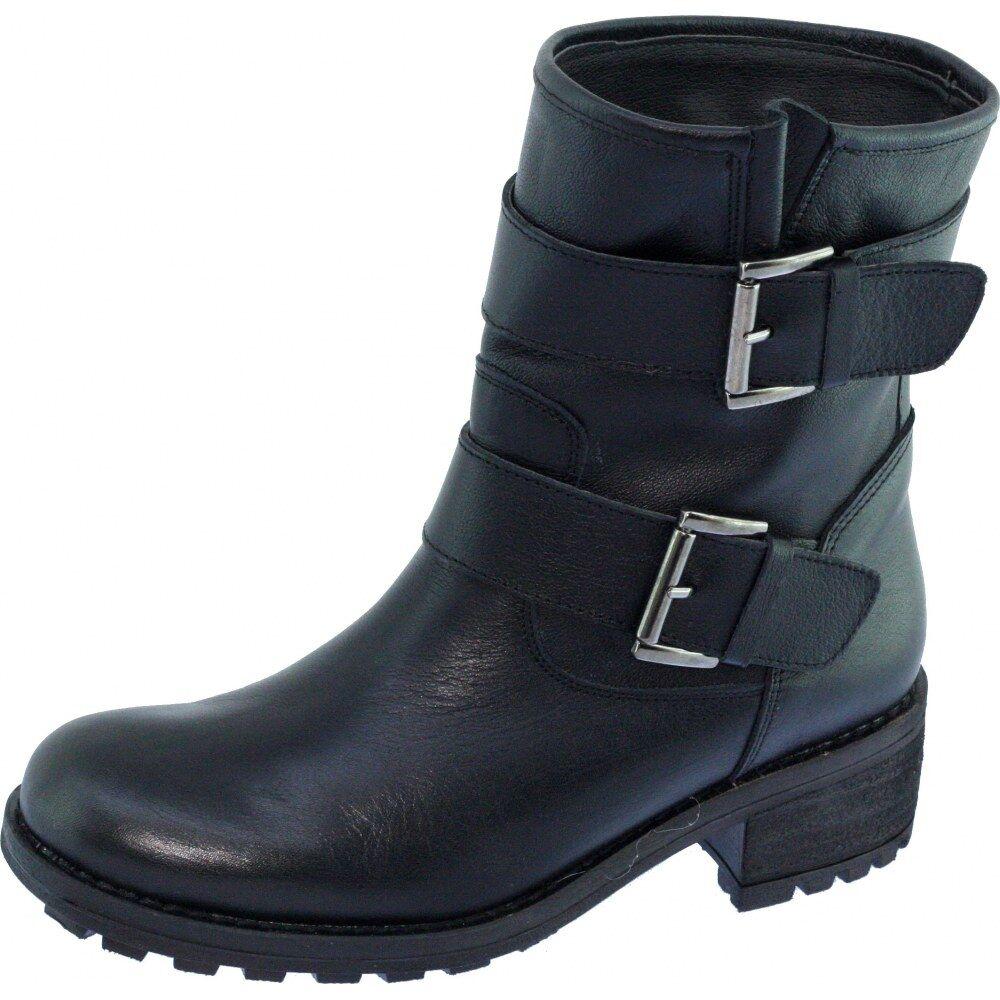 FLORIDE Boots Motardes Marque Angelina Bottines A Boucles Ceintures Esprit Moto Fabriquée Espagne Cuir Noir