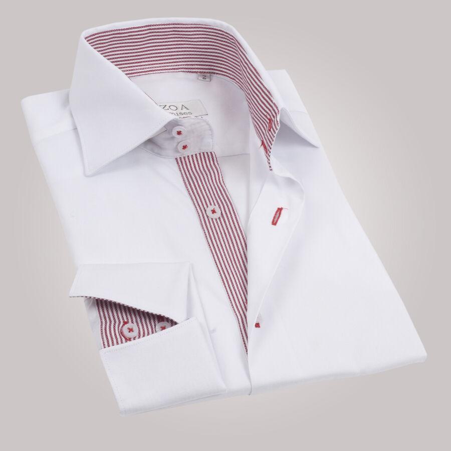 chemise homme blanche int rieur rayures rouges poignets napolitains chemise cintr e ozoa. Black Bedroom Furniture Sets. Home Design Ideas