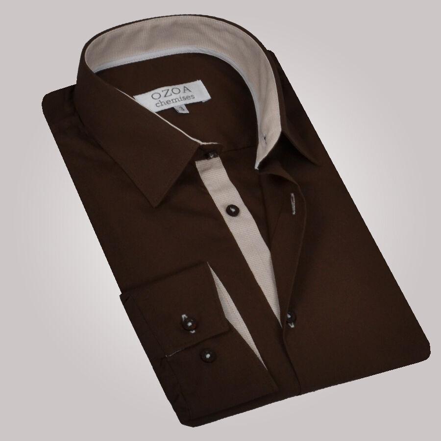 chemise homme marron trio pied de poule beige beige chemise cintree ozoa. Black Bedroom Furniture Sets. Home Design Ideas