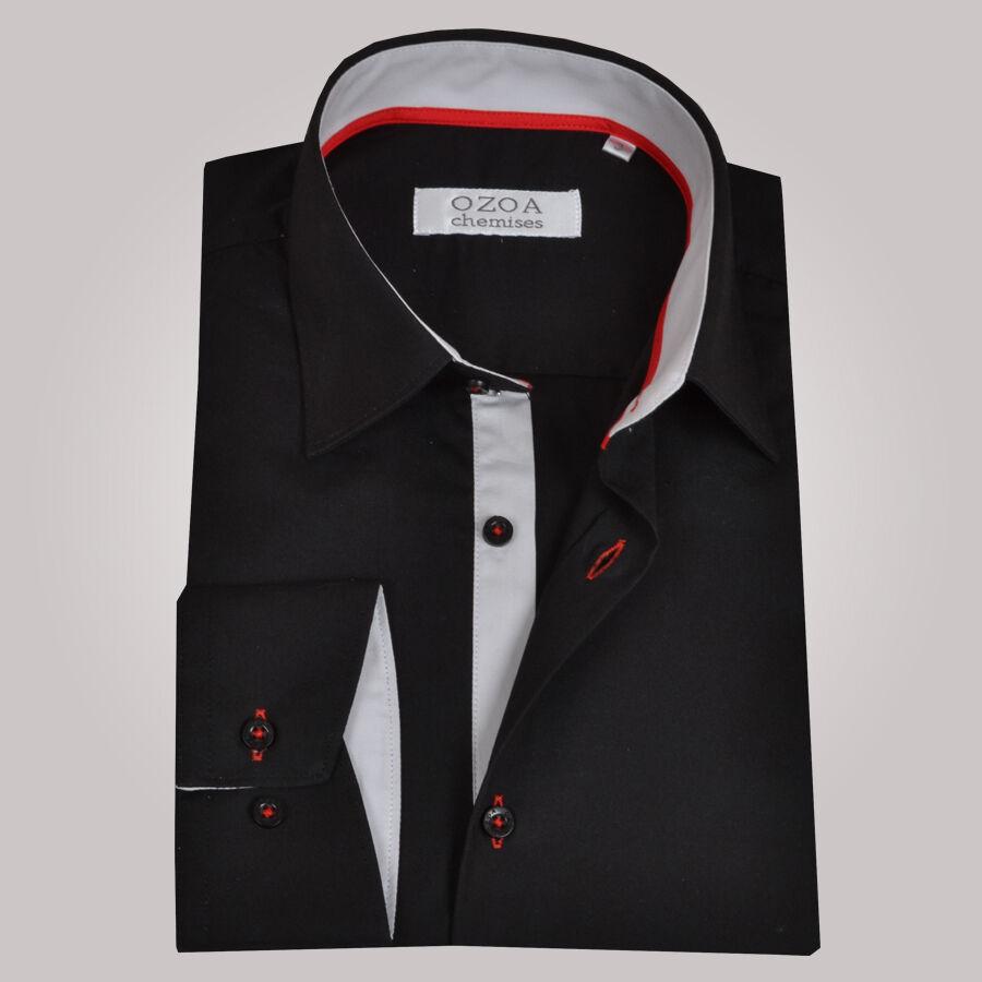 Chemise homme noire trio gris clair rouge chemise non cintr e ozoa - Chemise rouge et noir homme ...