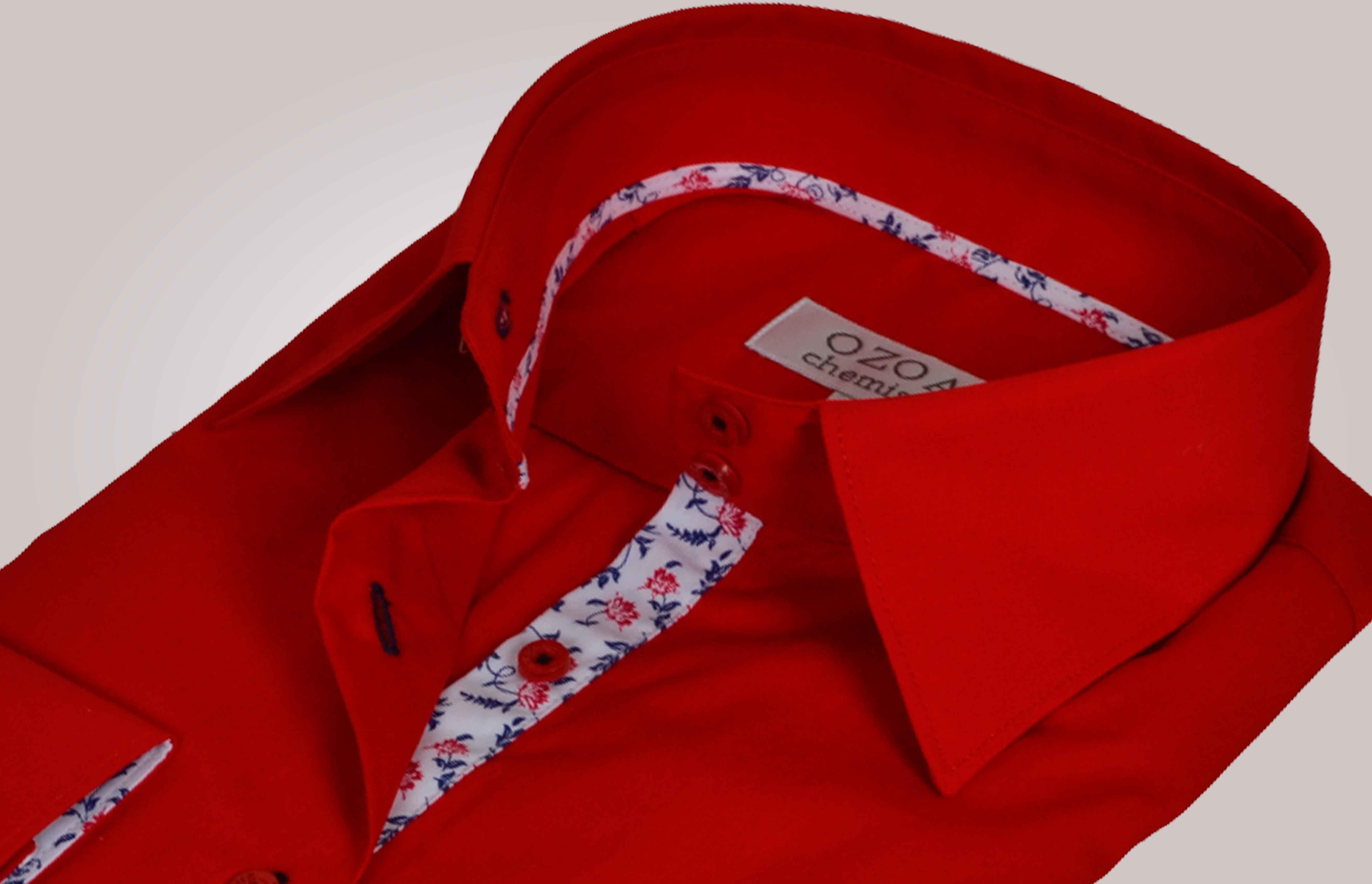 chemisier femme rouge duo fleurs bleues et rouges chemisier cintr ozoa. Black Bedroom Furniture Sets. Home Design Ideas