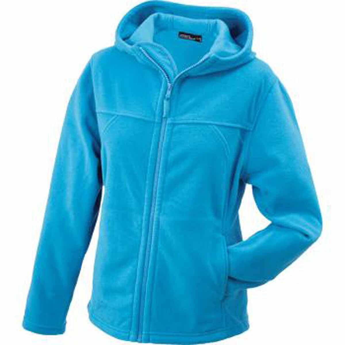 Veste polaire zippée et à capuche femme - JN146 - bleu turquoise