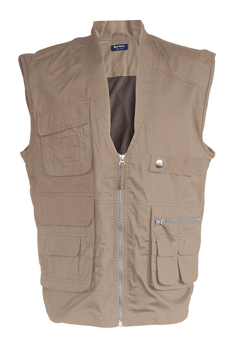 Gilet safari photographe multipoches K670 - beige - veste légère sans manches - reporter
