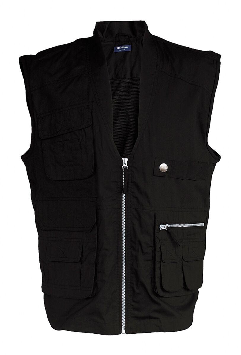 Gilet safari photographe multipoches K670 - noir - veste légère sans manches - reporter