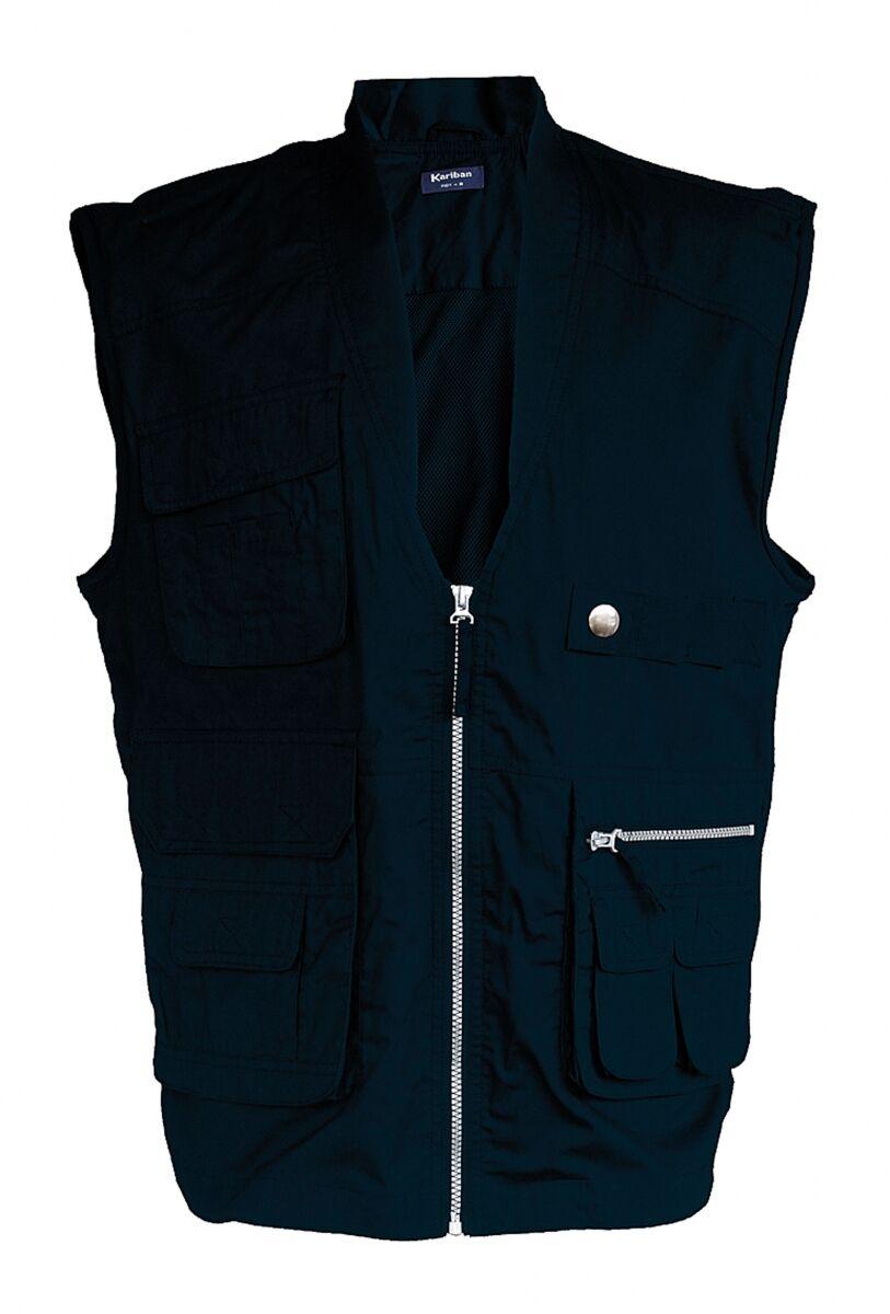 Gilet safari photographe multipoches K670 - bleu marine - veste légère sans manches - reporter
