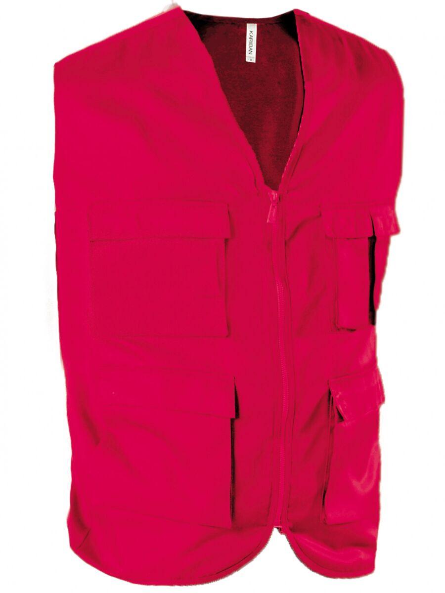 Gilet safari photographe multipoches K624 - rouge - veste légère sans manches - reporter