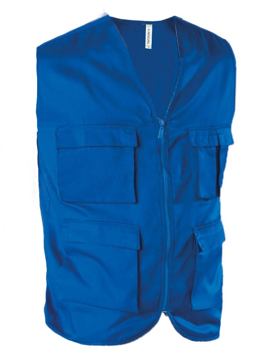 Gilet safari photographe multipoches K624 - bleu roi - veste légère sans manches - reporter