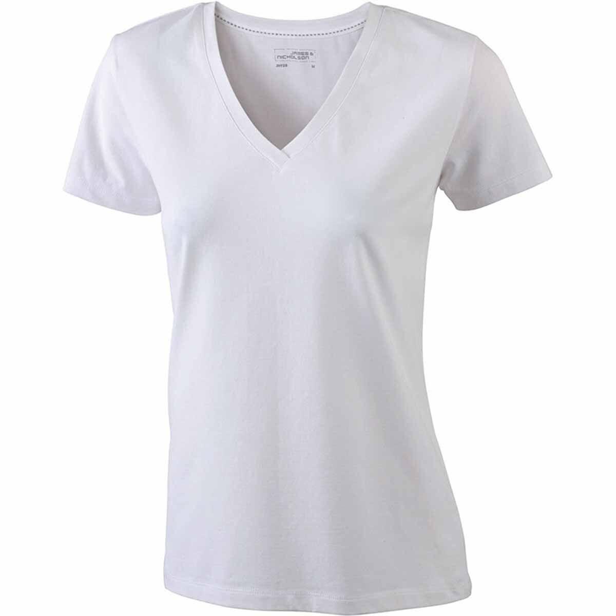 bffcfce6b137f T-Shirt Col V - Extensible - Jn928 - Blanc - Femme - Manches Courtes .