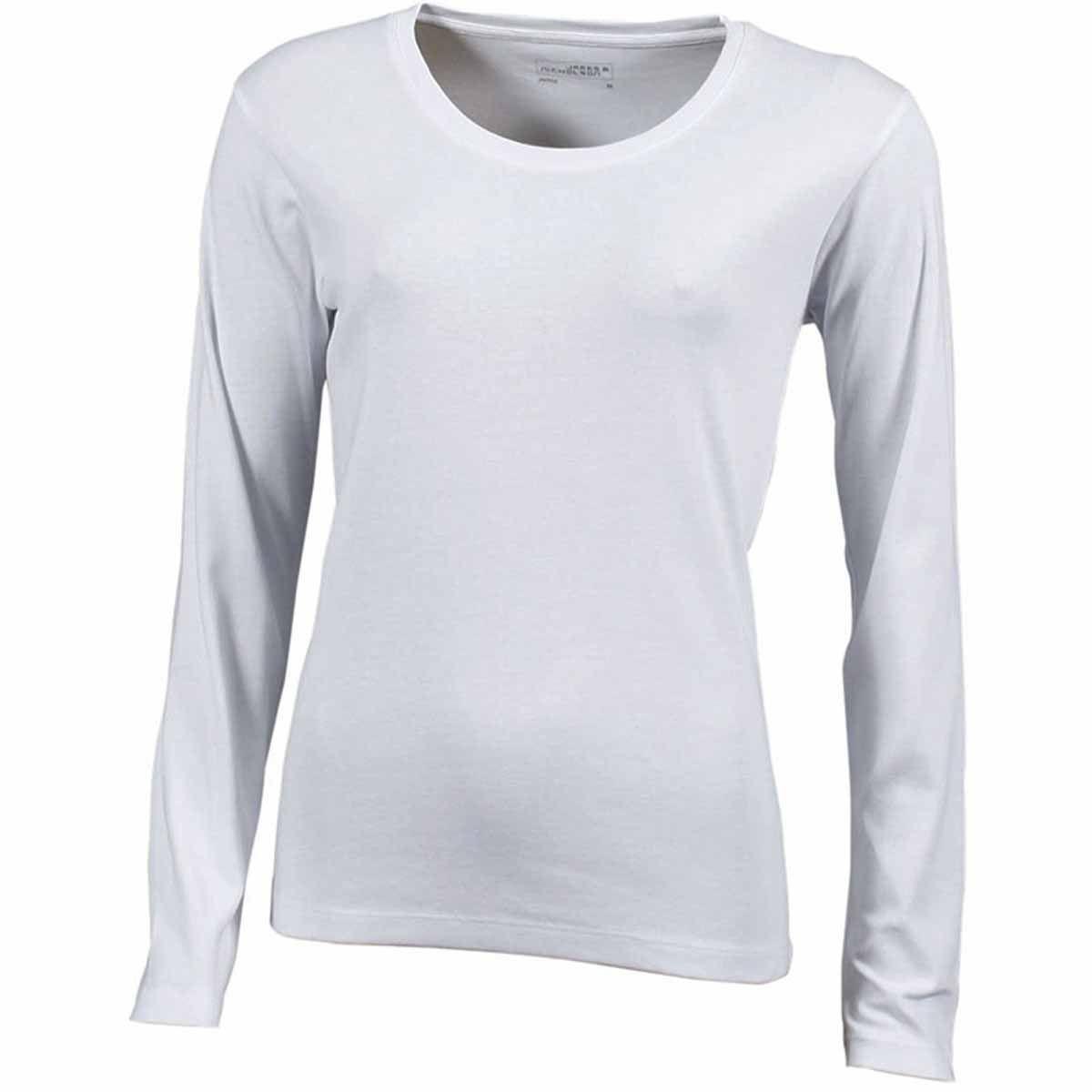 a8f219977be0 T-Shirt Femme Manches Longues - Jn906 - Blanc - Coton Extensible ...