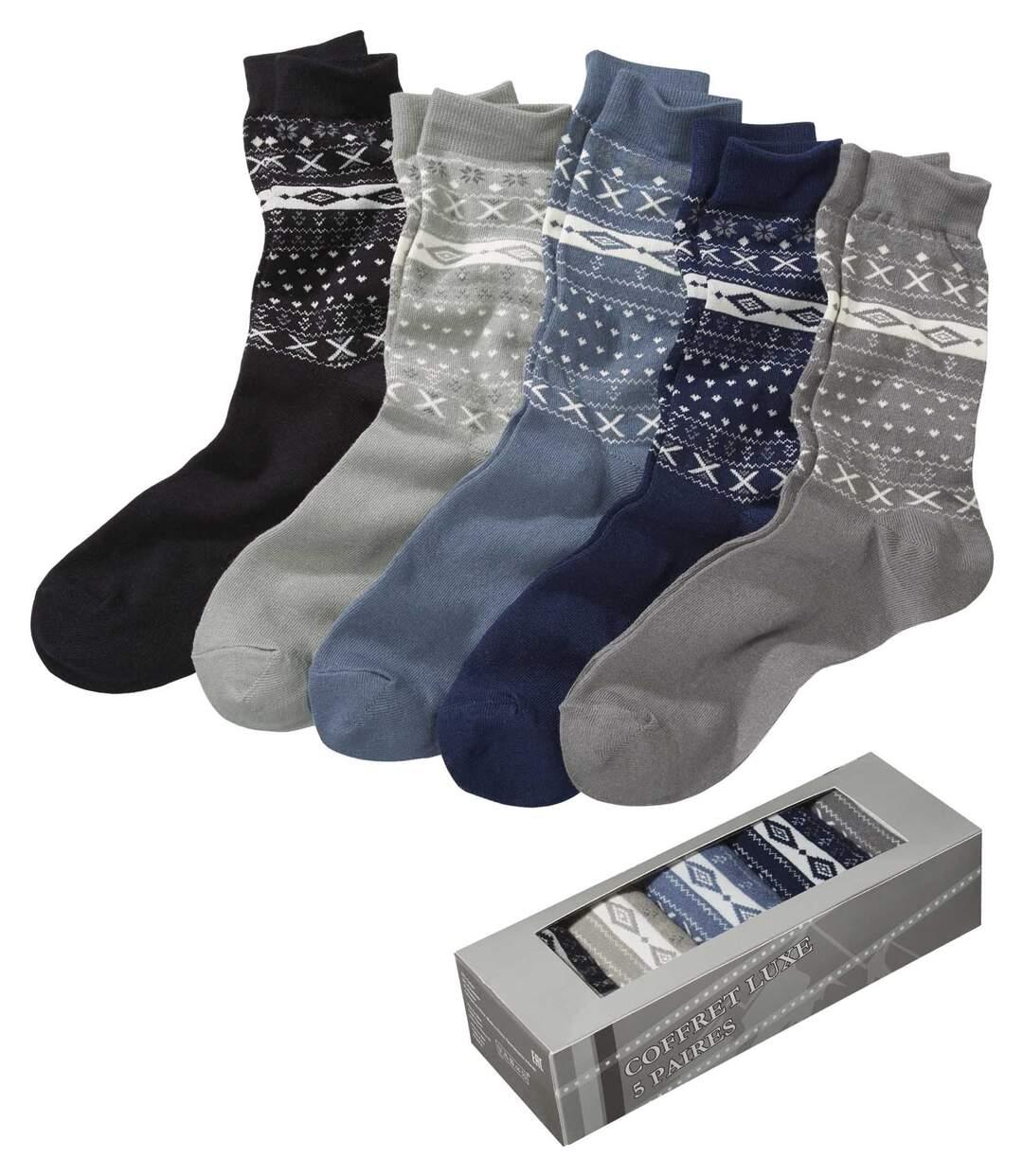 Sada 5 párů ponožek se žakárovým vzorem